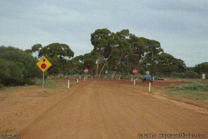 Crossing a private haul road