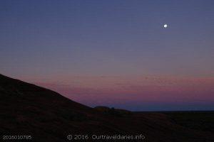 Moonrise after sunset, at McDermid Rock