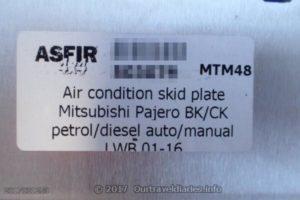 Asfir Rear Air Con Skid Plate Label
