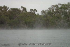 Rain falling over Dalhousie Springs - beautiful.