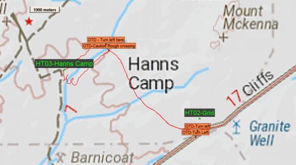 Hanns Track, Waypoints around Hanns Camp